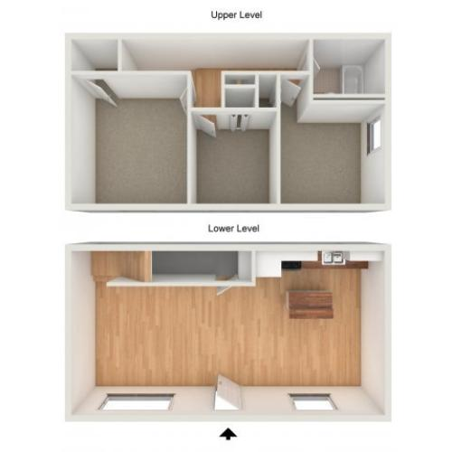 Three bedroom townhome floor plan
