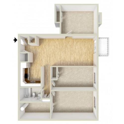 Two bedroom with den floor plan