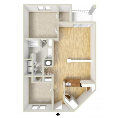 Irvington - one bedroom with den floor plan