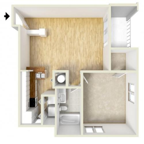 Adams - one bedroom floor plan