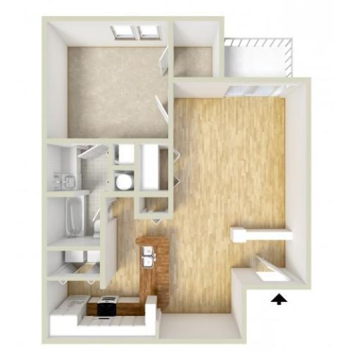 Delorme - one bedroom floor plan