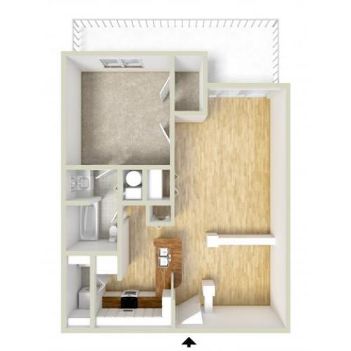 Franklin - one bedroom floor plan