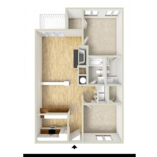 Keystone - two bedroom floor plan