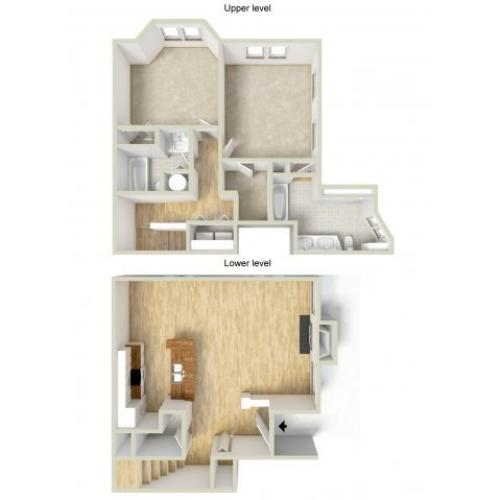 LeGrand - two bedroom townhouse floor plan