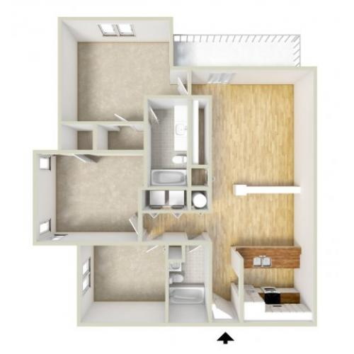 Mills - three bedroom floor plan