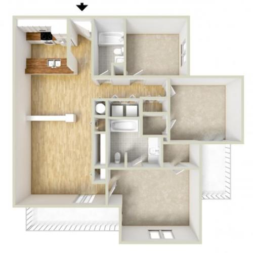 Mencken - three bedroom floor plan
