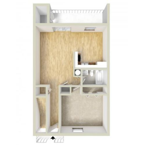 One bedroom downstairs floor plan