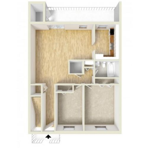 Two bedroom downstairs floor plan