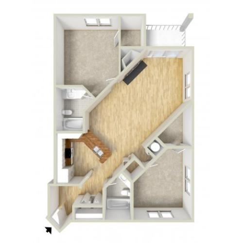 Jackson - two bedroom floor plan
