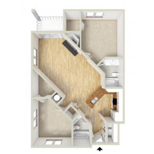 Jefferson - two bedroom floor plan
