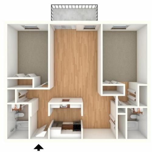 Two bedroom, two bathroom split