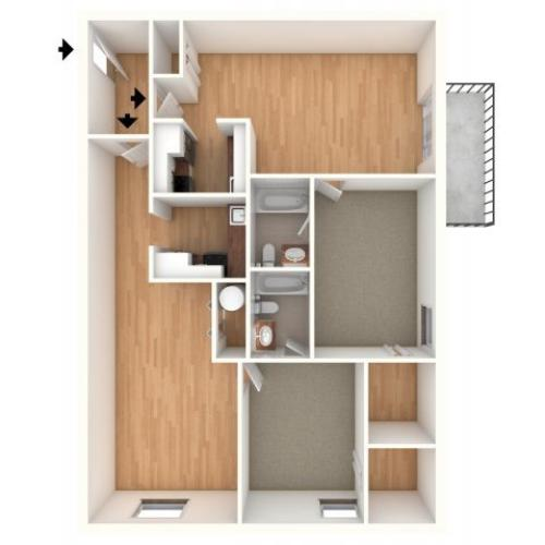 Junior one bedroom floor plan