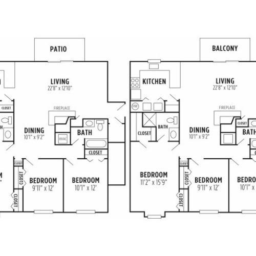 Floor Plan 2 | Apartments For Rent In Wyomissing PA | Victoria Crossing Apartments