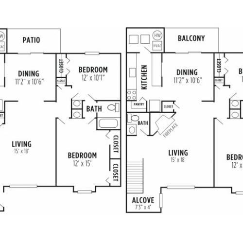 Floor Plan 3 | Wyomissing Apartments | Victoria Crossing Apartments