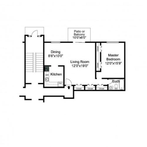 Oak Fores One Bedroom Floor Plan
