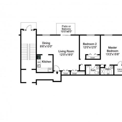Oak Forest Two Bedroom floor plan