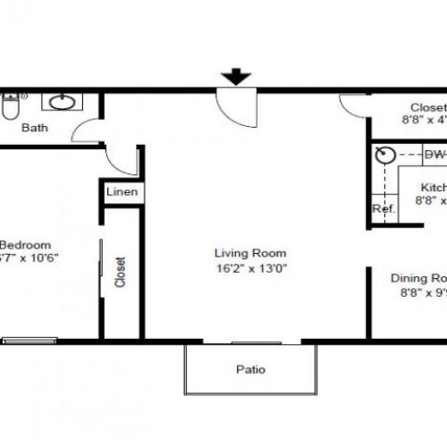 1 Bedroom Floor Plan | Malvern Pa Apartments | Caln East Apartments