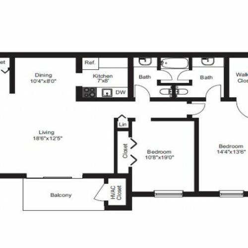 2 Bedroom Floor Plan | Pet Friendly Apartments Near Me | Caln East Apartments