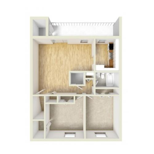 Two bedroom upstairs floor plan