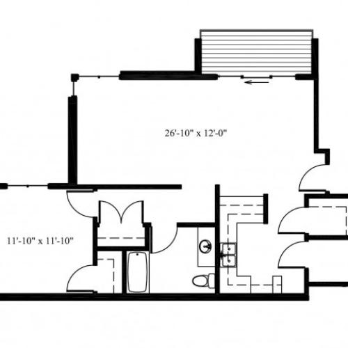 Deer View Fawn 1X1 Floor Plan
