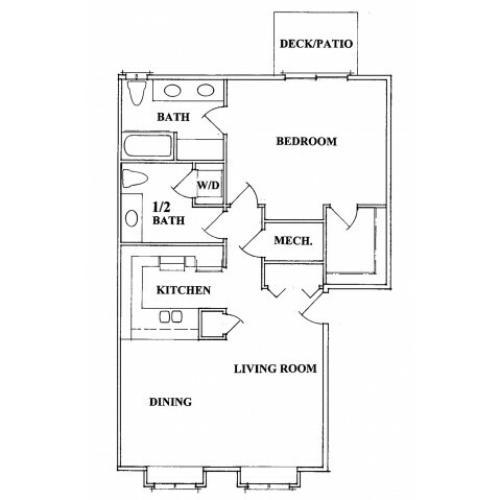 One Bedroom Two Bath Floorplan