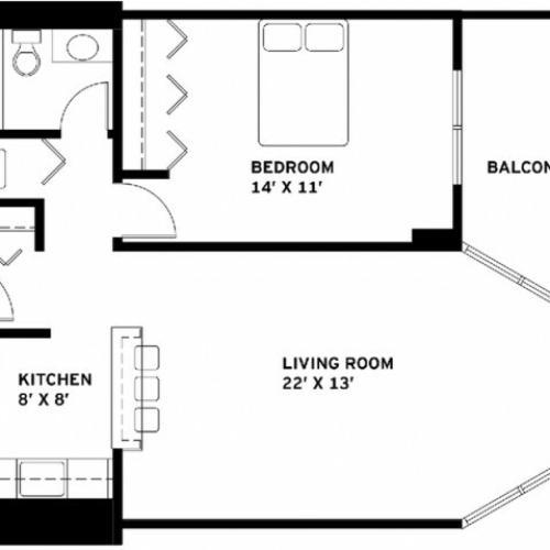 One Bedroom Floor Plan H