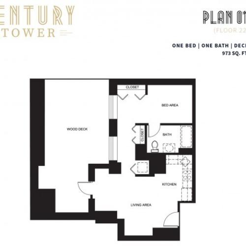 1 Bed 1 Bath + Deck Plan 1
