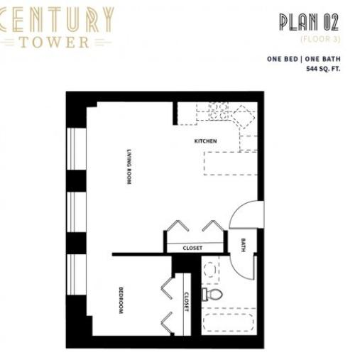 1 Bed 1 Bath Plan 2