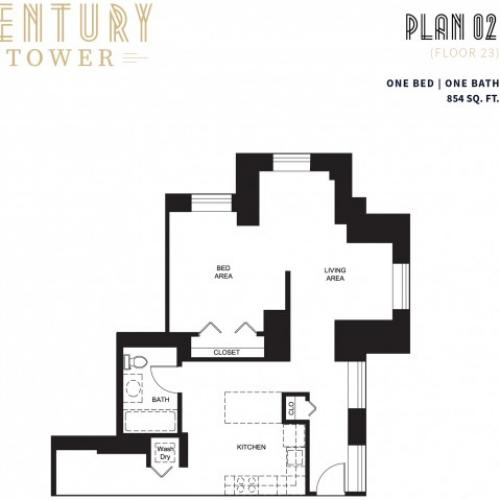 1 Bed 1 Bath Plan 2D