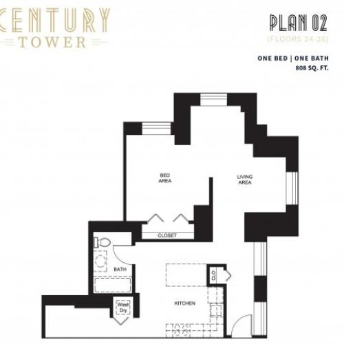 1 Bed 1 Bath Plan 2E