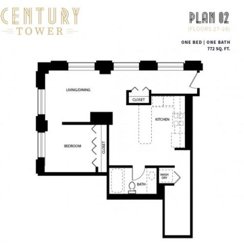 1 Bed 1 Bath Plan 2F