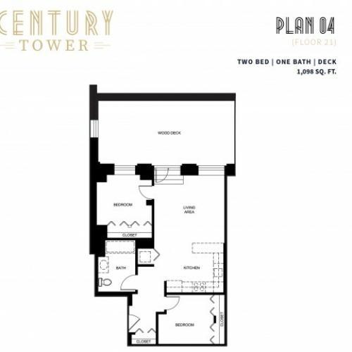 2 Bed 1 Bath + Deck Plan 4