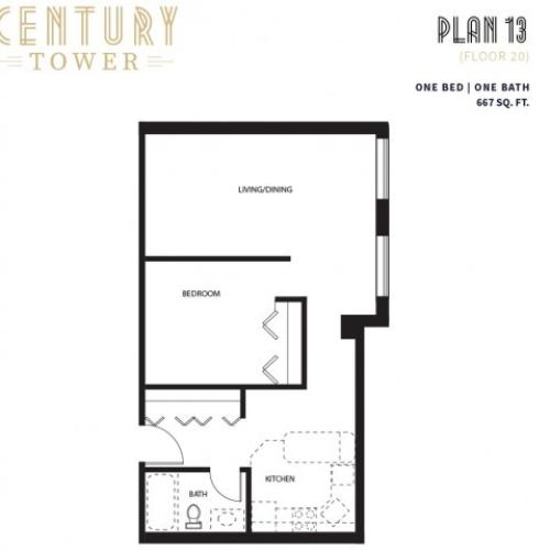 1 Bed 1 Bath Plan 13B