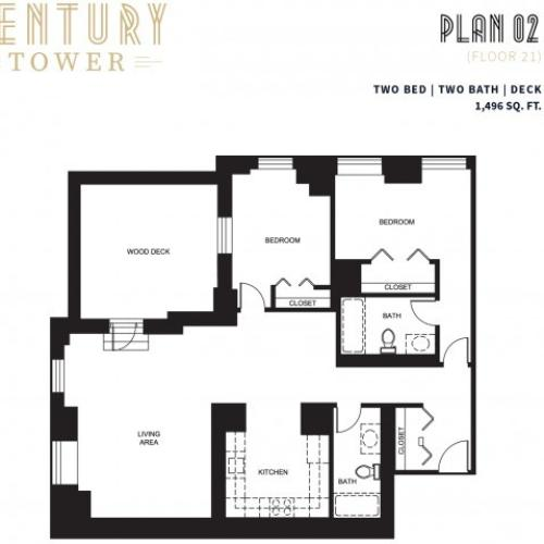 2 Bed 2 Bath + Deck Plan 2B