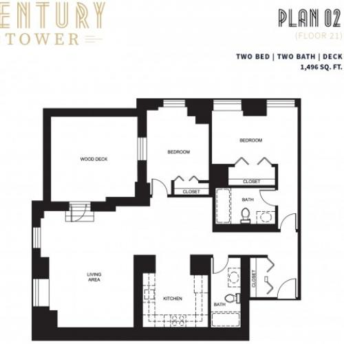 2 Bed 2 Bath + Deck Plan 2B