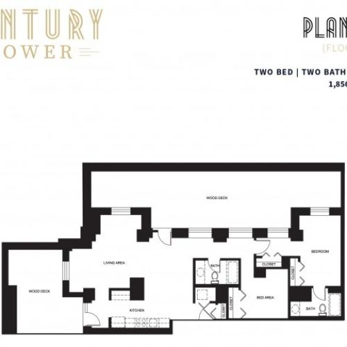 2 Bed 2 Bath + Deck Plan 2C