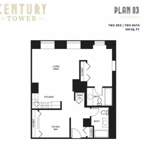 2 Bed 2 Bath Plan 3C