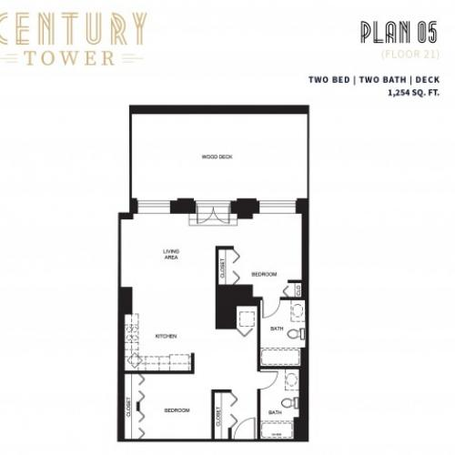 2 Bed 2 Bath + Deck Plan 5B