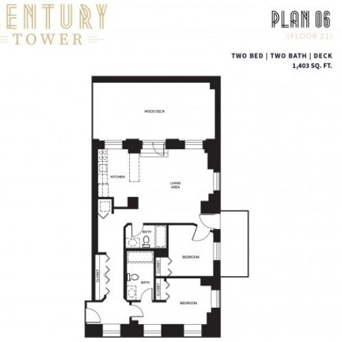2 Bed 2 Bath + Deck Plan 6B
