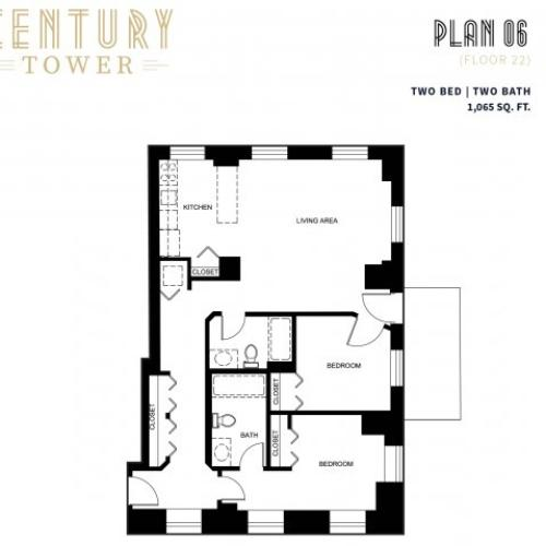 2 Bed 2 Bath Plan 6C