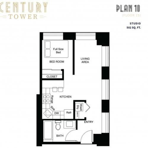 1 Bedroom Plan 10 (Floor 15)