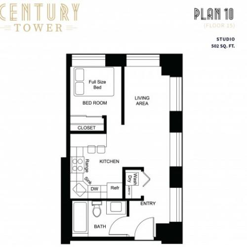 1 Bedroom Plan 10 (Floor 15)