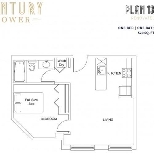 1 Bedroom Plan 13 Renovated