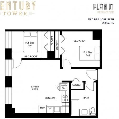 2 Bedroom 1 Bath Plan 1 Renovated
