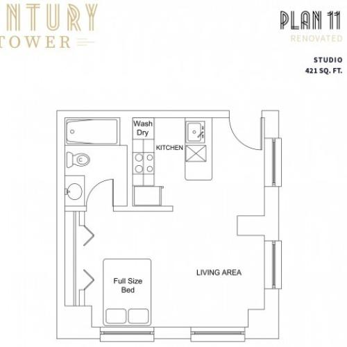 Studio Plan 11 Renovated