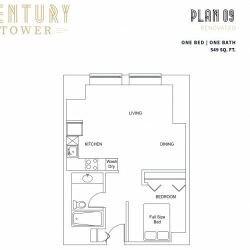 1 Bedroom Plan 9 Renovated
