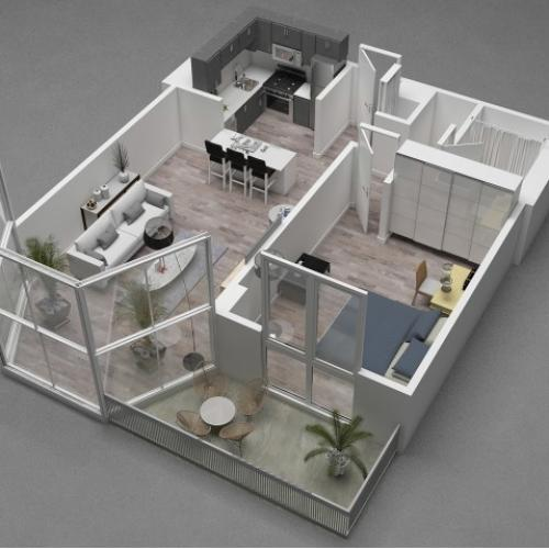 One Bedroom Floor Plan C