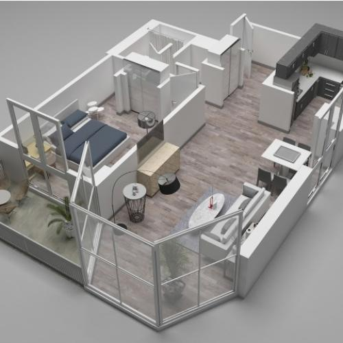 One Bedroom Floor Plan D