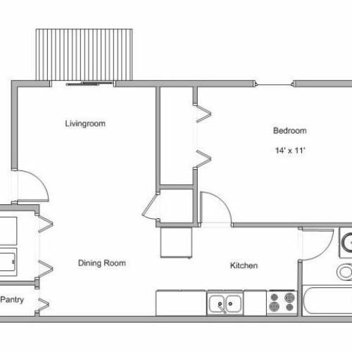 floor plan image of 1 bedroom apartment