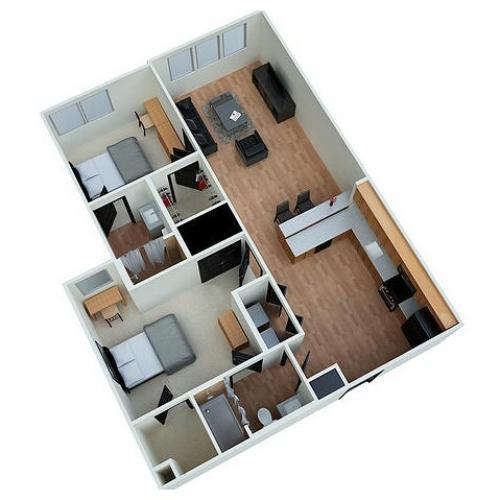 B1 - 2 Bedroom 2 Bath Floorplan Eclipse on Madison
